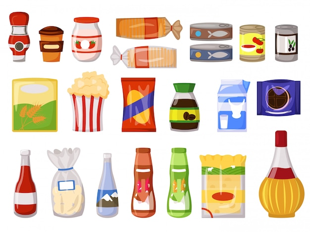 Пакет закусок. фастфуд, консервы, молочные напитки, соус, растворимый кофе, мука, хлеб в пакете, мешок, коробка, дой-пакет, бутылка, банка, изолированный набор саше. супермаркет продукта и закуски векторные иллюстрации