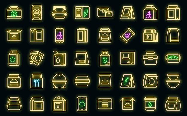 Snack pack icons set outline vector. candy bag. nut package