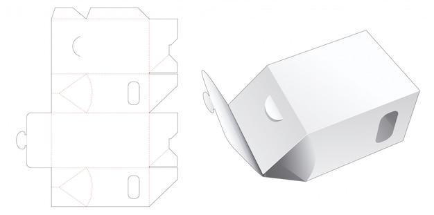 Snack packaging with 2 side window die cut template