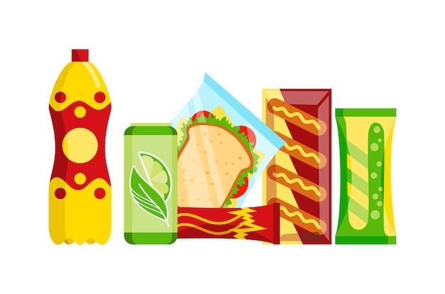 스낵 제품 세트. 패스트 푸드 스낵 음료, 주스 및 샌드위치 흰색 배경에 고립.