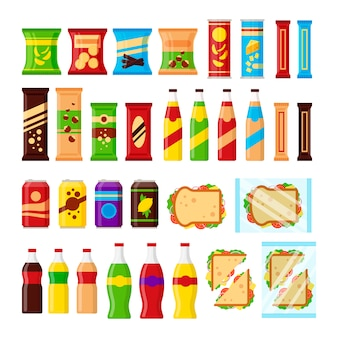 Набор закусок для торгового автомата. фаст-фуд закуски, напитки, орехи, чипсы, взломщик, сок, бутерброд для поставщика машины бар, изолированные на белом фоне. плоская иллюстрация в