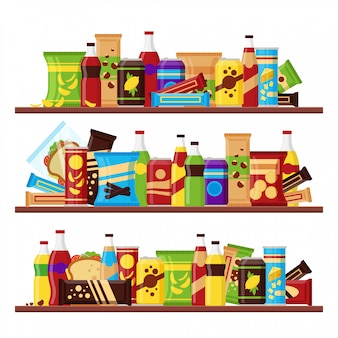 Snack product set on the shelves, colorful fast food snacks drinks nuts chips cracker juice sandwich chocolate isolated on white background
