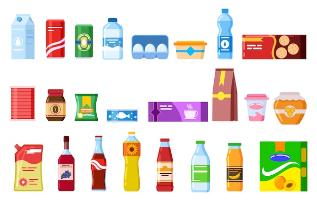 Snack products. biscuit water juice biscuits cola ketchup yogurt coffee soup. packed cooking product flat vector isolated icons set