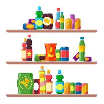Snack products shelves. foods for vending machine cold drinks cola soda unhealthy package