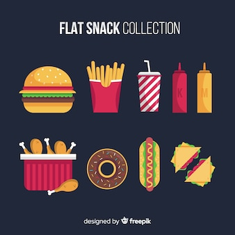 Snack set in flat style