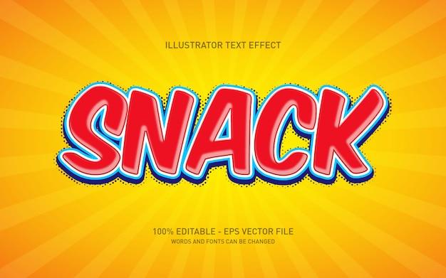 Редактируемый текстовый эффект, иллюстрации в стиле snack