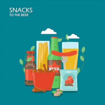 Snacks to the beer  flat style  illustration