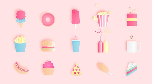 Snacks and soft drink in paper art style