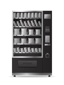 Snacks vending machine realistic  with electronic control panel isolated