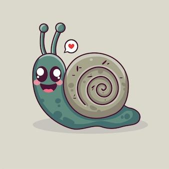 カタツムリ動物のロゴかわいいカタツムリベクトル漫画エスカルゴ動物カタツムリナメクジカワイイ