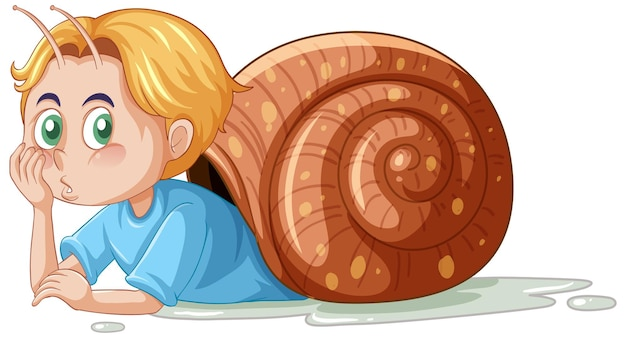 Snail boy cartoon character on white background