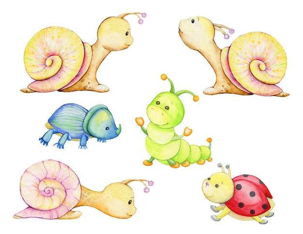 달팽이, 애벌레, 딱정벌레, 무당벌레, 만화 스타일의 동물과 곤충의 수채화 세트.