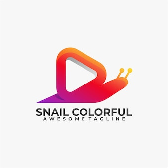 Snail colorful logo design illustration modern color