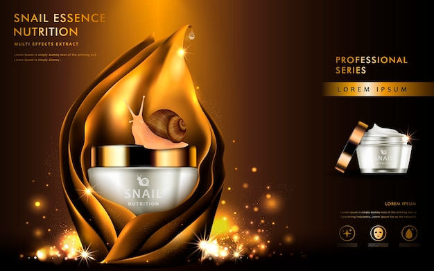 Snail extract cosmetic ads, natural essence in beautiful container covered in golden leaves isolated 3d illustration