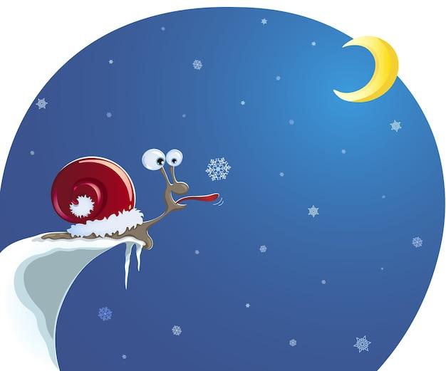 눈 덮인 절벽 가장자리에 산타 모자를 쓴 달팽이가 혀로 눈송이를 잡습니다.
