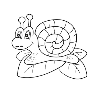 달팽이 절연 라인 아트, 색칠 공부 페이지, 어린이를 위한 손으로 그린 벡터 일러스트 레이 션