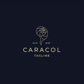 Snail line art elegant luxury logo icon design template flat vector