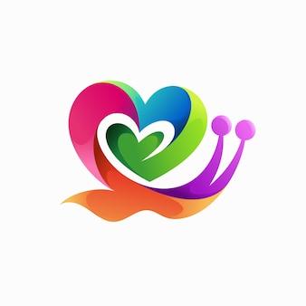 사랑 개념이 있는 달팽이 로고