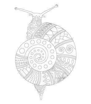 Snail mandala design for coloring page print
