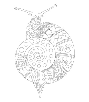 ページプリントを着色するためのカタツムリ曼荼羅デザイン