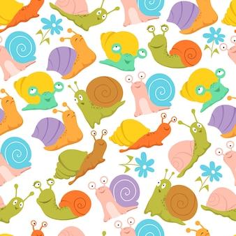 Улитка бесшовные модели. модные детские бесконечные текстуры для ткани и упаковки