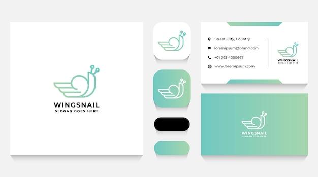 Улитка с шаблоном логотипа крыла и визитной карточкой