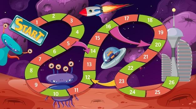 宇宙をテーマにした蛇と梯子のゲームテンプレート