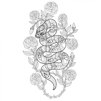 ヘビとバラ。大人の塗り絵の手描きのスケッチ図