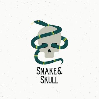 ヘビと頭蓋骨の抽象的なベクトル記号、シンボルまたはロゴのテンプレート