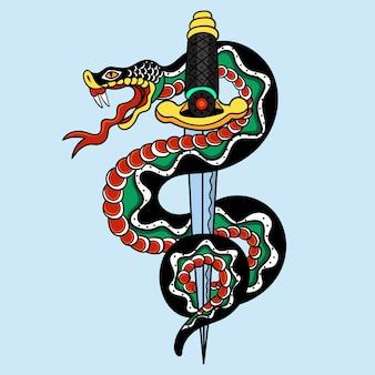 문신, 캐릭터, 스티커, 티셔츠용 뱀과 검