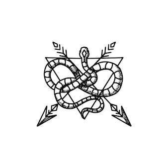 ヘビの矢の入れ墨