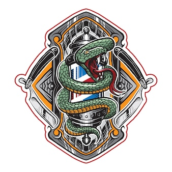 Snake barber shop lamp illustration