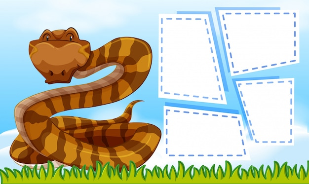A snake on blank note frames