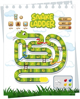 A snake board game template