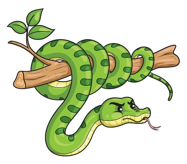 Snake cartoon on branch