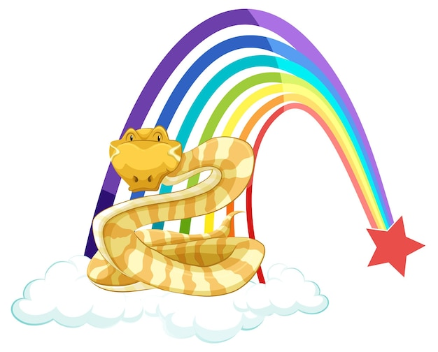 A snake cartoon character on the cloud with rainbow on white background