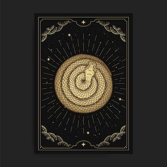 Snake circle in tarot card with engraving