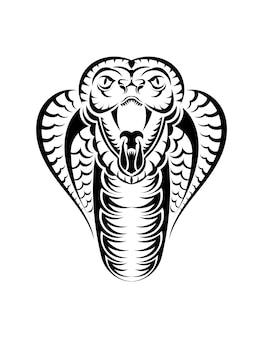 뱀 코브라 얼굴 아이콘 검정 그림입니다. 스포츠 팀을 위한 킹 코브라가 있는 엠블럼. t-셔츠에 대 한 인쇄 디자인입니다.