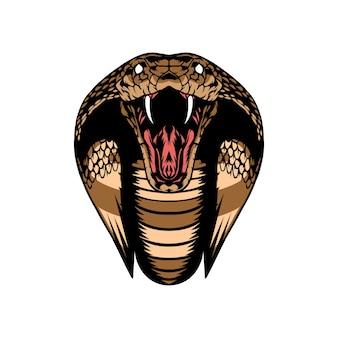 Snake cobra viper head wild animal mascot vector illustration template