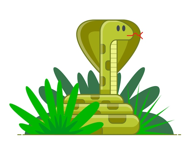 녹색 수풀에 웅크리고 있는 뱀. 숨겨진 위험. 치명적인 정글. 평면 벡터 일러스트 레이 션.