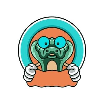 Serpente carino mascotte logo design