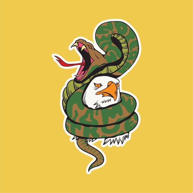 Snake and eagle doodling illustration