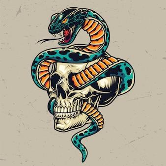 頭蓋骨のカラフルなコンセプトが絡んだヘビ