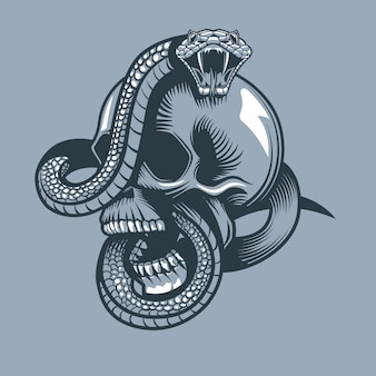 Snake enveloped skull with open mouth
