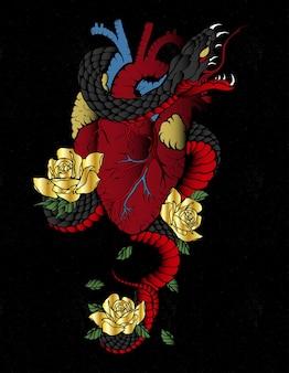 Тату змея в форме сердца с розой