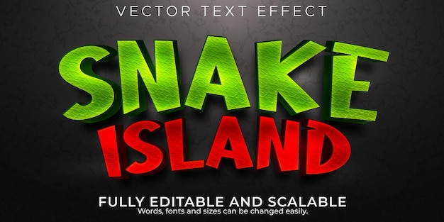 Snake island editable text effect blood and scary text style Premium Vector