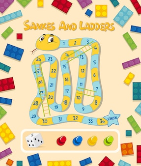 A snake and ladder game template