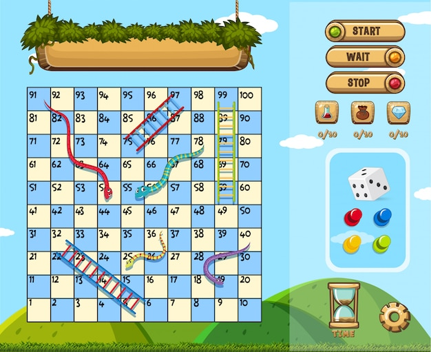 A snake ladder game themplate