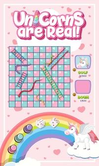 Snake ladder game in unicorn pastel theme