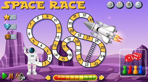 Snake ladder game with space theme template